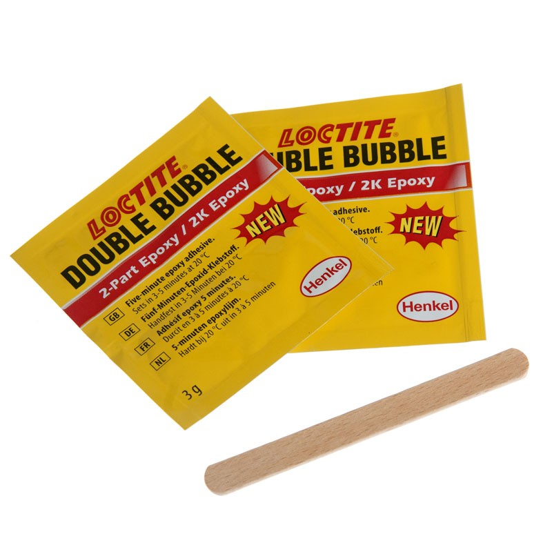 Loctite double bubble epoxy adhesive in convenient single-use sachets.