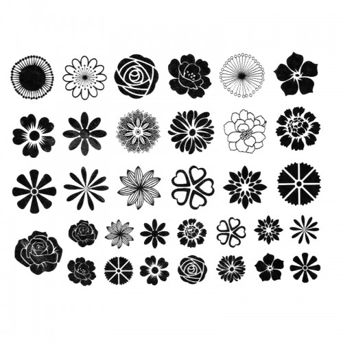 Black Flower Decal