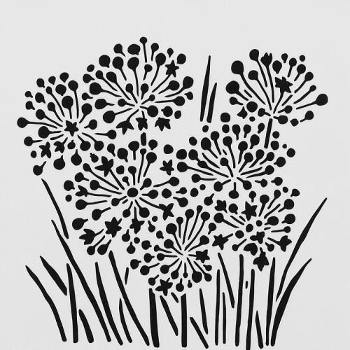 Allium Blossoms Stencil 15cm x 15cm