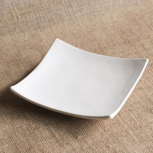 Bisque Concave Square Plate