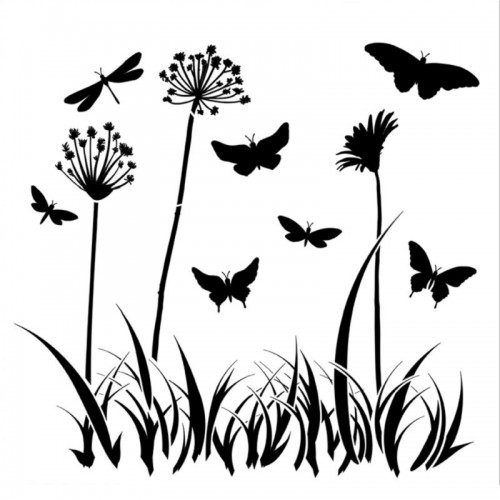 Butterfly Meadow Stencil 15cm x 15cm