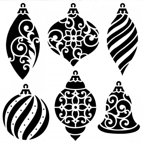 Christmas Ornaments Stencil - 15cm x 15cm
