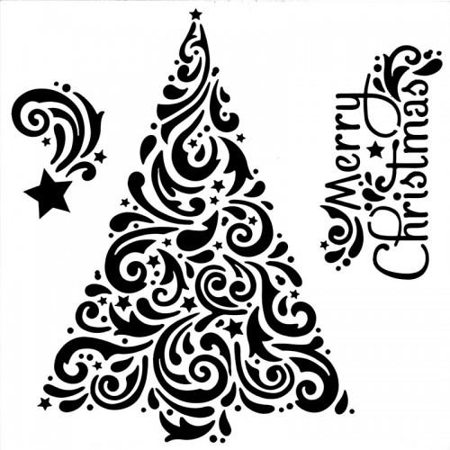 Christmas Tree Stencil - 15cm x 15cm