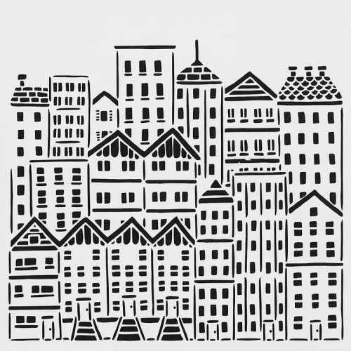 City Buildings Stencil 15cm x 15cm