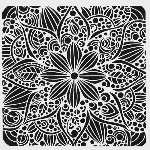 Doodle Bloom Stencil 15cm x 15cm