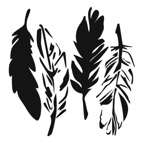 Feathers Stencil 15cm x 15cm