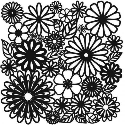 Flower Frenzy Stencil 15cm x 15cm