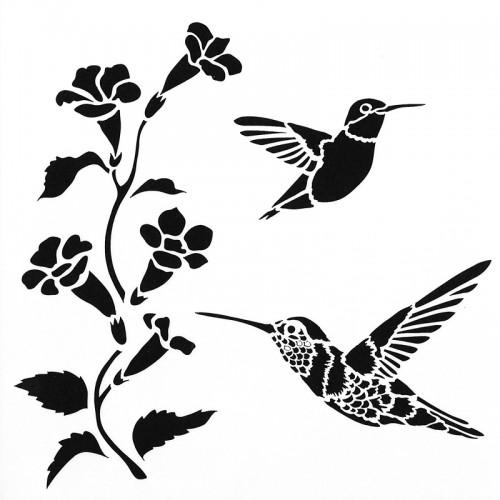 Hummingbird Stencil 15cm x 15cm
