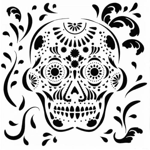 Mexican Skull Stencil 15cm x 15cm