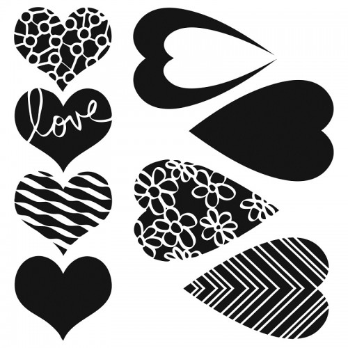 Mix and Match Heart Stencil 15cm x 15cm