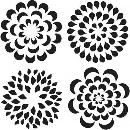 Petal Stencil (mini mums) 15cm x 15cm