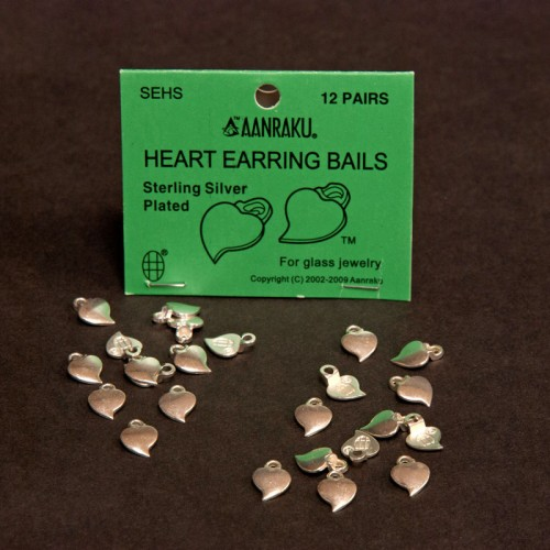 24 Silver Plated Heart Earring Bails