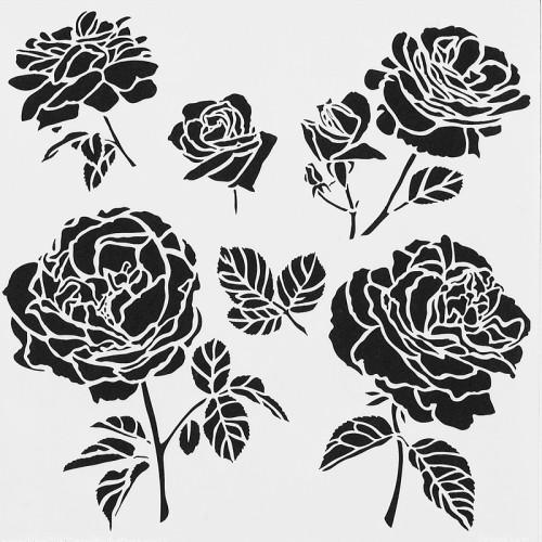Roses Stencil 15cm x 15cm