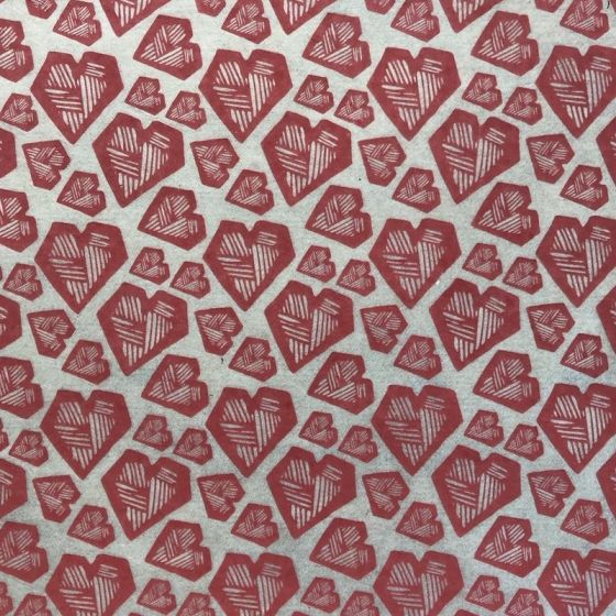 Hearts Underglaze Transfer Sheet - Red
