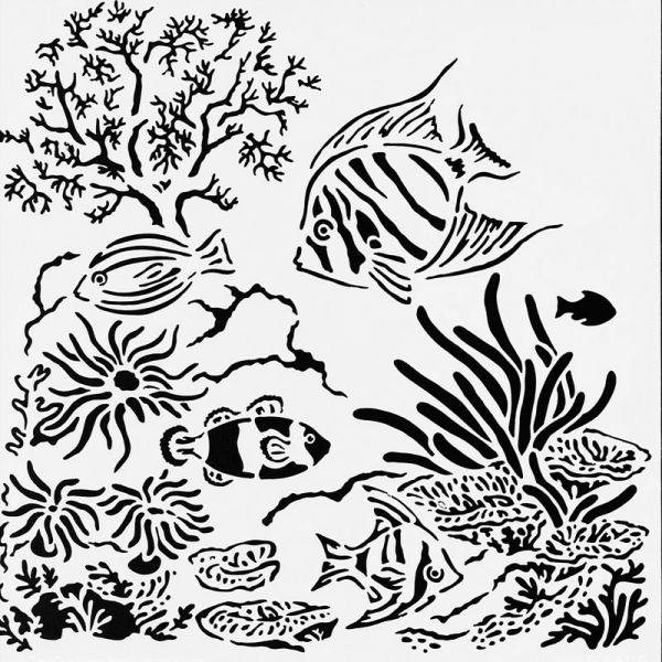 Aquarium Stencil 15cm x 15cm