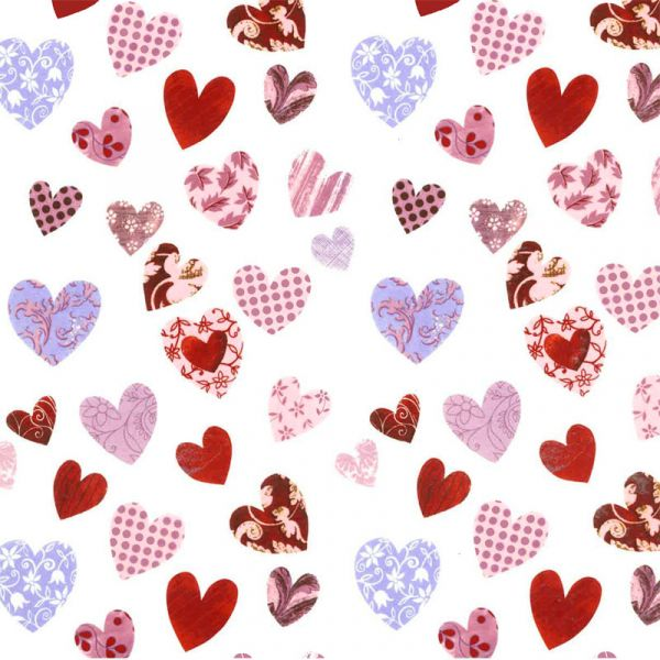 Patchwork Hearts Decal 22cm x 22cm